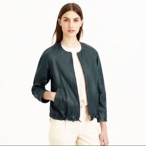 J Crew Collection Collarless Leather Jacket FIRM